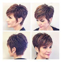 831 Likes, 10 Comments - Pixie Cut Short Choppy Hair, Short Hair With Layers, Layered Hair, Short Hair Cuts, Pixie Cuts, Mom Hairstyles, Cute Hairstyles For Short Hair, Curly Hair Styles, Great Hair
