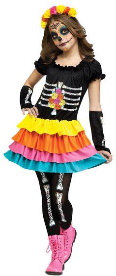 Dia De Los Muertos Girls Costume - Halloween Costumes