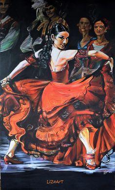 Commission Spanish Dancer Acrylic 900Wx1500H mm Box Canvas