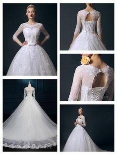 Straps V-neck Beaded Lace Appliques A-line Wedding Dress