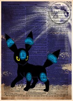 Pokemon art, Pokemon Umbreon, video game art, Pokemon poster printed in a cool pop art style on vintage dictionary page. Umbreon stalking around by moonlight! These unique and original artwork are pri (Cool Backgrounds Vintage) Pokemon Umbreon, Pikachu, Eevee Evolutions, Cool Pokemon, Pokemon Fan, Pokemon Room, Pokemon Tattoo, Pokemon Fusion, Artwork Prints