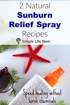 2 All Natural and Organic Sunburn Relief Spray Recipes to speed healing and give pain relief using ingredients like essential oils, calendula and more.