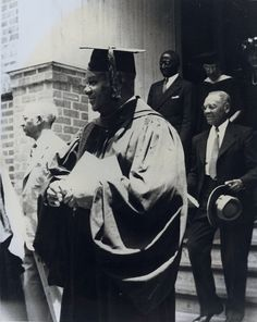 Rev. William Bender, on the steps of Woodworth Chapel, Tougaloo  College.