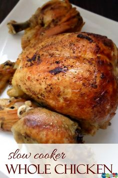 EASY and delicious Slow Cooker Whole Chicken Recipe!