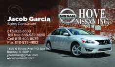2013 Nissan Altima Business Card ID# 20663