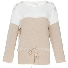 Mariniere Cashmere Sweater | Moda Operandi ❤ liked on Polyvore featuring tops, sweaters, long sleeve sweater, cashmere sweater, extra long sleeve sweater, crew-neck sweaters and tie sweater