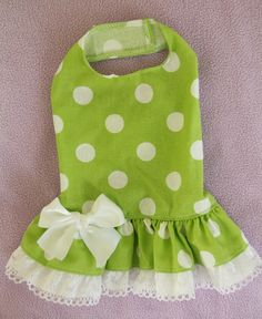 S Lime Polka Dot Party Dog Dress Clothes Pet aparrel Small ❤❤❤
