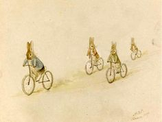 Peter Rabbit, Benjamin Bunny and friends on bicycles. I have never seen this particular Beatrix Potter before.