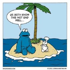 Cookie Monster Stranded with Pillsbury Dough Boy on a Desert island. #funny #lol