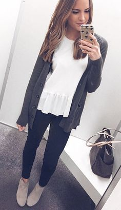 Fall Outfit 2016 - Peplum and Cardigan Outfit + Taupe Booties - Strickjacke Trajes Business Casual, Business Casual Outfits, Fall Business Casual, Looks Style, My Style, Teaching Outfits, Fall Teacher Outfits, Professional Teacher Outfits, Teacher Clothes