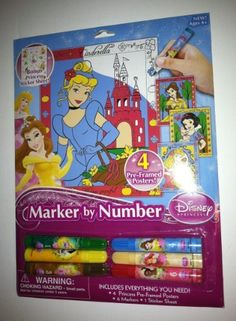Disney Princess Marker by Number by Horizon Group USA. $12.95. Bonus Princess Sticker Sheet!. Includes Everything You Need!  4 Princess Pre-Framed Posters, 6 Markers, 1 Sticker Sheet