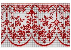 Border 59   Free chart for cross-stitch, filet crochet   Chart for pattern - Gráfico