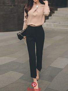 Work Solid Knot Front Stand Collar Top With Pants Work Solid Knot Front Stand Collar Top With Pants Classy Business Outfits, Trajes Business Casual, Classy Work Outfits, Casual Work Outfits, Mode Outfits, Work Casual, Business Fashion, Business Chic, Office Wear Women Work Outfits
