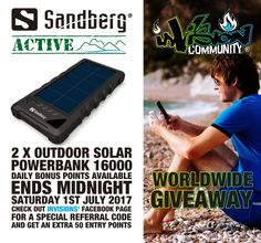 #WIN #GIVEAWAY - @Sandberg ACTIVE WorldWide Giveaway with @InvisionGameCom 2x Outdoor Solar PowerBank