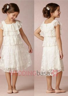 2015 White Lace Pretty Flower Girls\' Dresses Short Sleeves Tea length A-line Layers Formal Cute Little Girls\' First Communion Gowns New