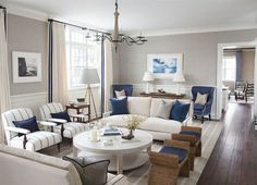 Living Room. Living Room Furniture. Living Room Furniture Layout. Blue and White Living Room. Coastal Living Room. #LivingRoom #LivingRoomLayout #LivingRoomFurniture