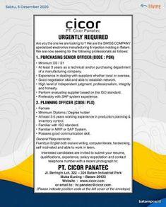 Lowongan Kerja Batam PT. Cicor Panatec (7/12/2020) Degree Holder, Good Communication Skills, Batam, Are You The One, Portal, Resume, Self, Positivity, How To Plan