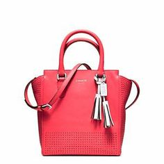 Coach Legacy Perf Mini Tanner Bag in Watermelon,COACH KRISTIN ELEVATED LEATHER SAGE ROUND SATCHEL