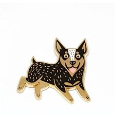 The cattle dog of your dream now in a pin! Perfect add to your jacket or bag - 1.5 inches wide- cloisonne enamel pin- Gold plated metal, black and white.- 2 rubber clutches on the back Dog Years, Cute Pins, Cattle, Brooches, Dreaming Of You, Clutches, Enamel, Bling, Black And White