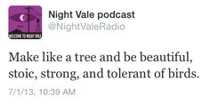 Make like a tree and be beautiful, stoic, strong, and tolerant of birds. #nightvale