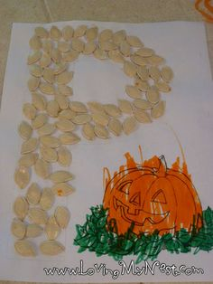 P is for Pumpkin - cute printout and fun way to use pumpkin seeds :)