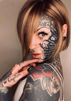 Hot Tattoos, Girl Tattoos, Tattoo Girls, Face Tats, Face Tattoos For Women, Piercings For Girls, Body Modifications, Inked Girls, Body Painting
