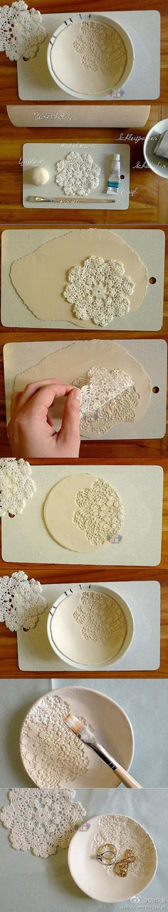 DIY clay bowl with doily imprint make it with ceramic or air dry clay.