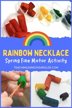 This preschool rainbow activity works on color recognition while also building fine motor skills. The result is a colorful necklace! #rainbow #finemotor #colors #pasta #necklace #craft #preschool #spring #3yearolds #4yearolds #teaching2and3yearolds Preschool Color Activities, Rainbow Activities, Sorting Activities, Motor Activities, Spring Books, Motor Skills, Fine Motor, Small Groups, Pasta