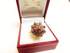 Vintage 14k Gold Gemstone Princess Ring - 14k Yellow Gold Pink Sapphire Harem Ring - Vintage 14k Multi Gemstone Cocktail Ring by GranvilleGallery on Etsy