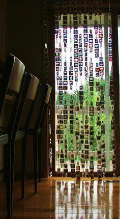 Dishfunctional Designs: Upcycled: Neat Projects Made With Old Photo Slides.   I like this look for window treatments.