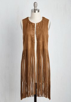 May the Vest Fan Win - Brown, Solid, Fringed, Casual, Boho, Spring, Summer, Long, Knit, Faux Suede, Vintage Inspired, 70s, Festival