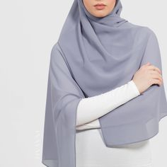 INAYAH | Fresh looks in our easy to style Soft Crepe Hijabs - Cool Grey Soft Crepe #Hijab - www.inayah.co