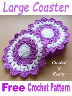 Get this FREE large coaster crochet pattern, crochet six and they will make great gifts for Christmas, Birthdays etc. My crochet large coaster design will protect your tables from scratches, it is a pretty pattern that can crochet up easily and quickly, I Crochet Coaster Pattern, Crochet Doily Patterns, Crochet Doilies, Crochet Stitches, Crochet Designs, Crochet Home, Crochet Gifts, Free Crochet, Knit Crochet