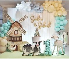 Farm Birthday Cakes, Twin Birthday Parties, Jungle Theme Birthday, Paper Party Decorations, Girl Birthday Decorations, Baby Shower Decorations, Balloon Backdrop, Festa Party, Baby Shower Princess
