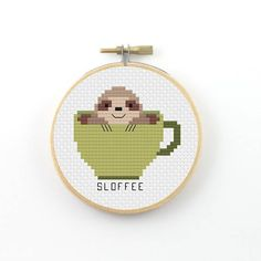 Sloffee cross stitch pattern (instant download) ----------------------------------------------------- Pattern information: Fabric: 14 count Aida white Stitches: 42*42 Size: Width: 3 (7,6 cm) Height 3 (7,6 cm) 8 DMC Colors Used stitches : cross stitch and back stitch 2 PDFs Included: - preview image of the finished design - colour symbol chart - black and white symbol chart - color floss legend with DMC stranded cotton ----------------------------------------------------- Instant Do...