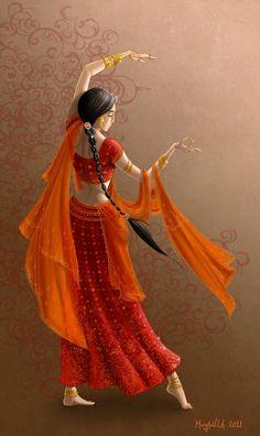 Hindi Time by Gudulett-e on DeviantArt Indian Women Painting, Indian Art Paintings, Krishna Painting, Krishna Art, Art Sketches, Art Drawings, Indian Illustration, Dance Paintings, Oil Paintings