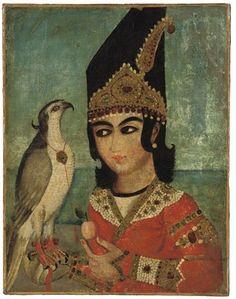 Каджар Портрет принца и его Хок - Середина 19-го века - Иран