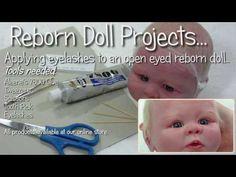 Applying eyelashes to open eyes - Reborn Doll Tutorial