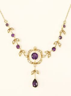 An Edwardian amethyst and split pearl necklace, by Murrle Bennett, c.1910, £380