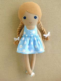 Fabric Doll Rag Doll  Blond Haired Girl in Blue and White Polka Dotted Sundress