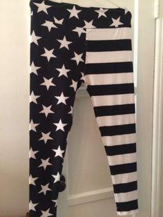 LuLaRoe-Stars-Stripes-Legging-TC-Tall-Curvy-NWT-VHTF-Unicorn-Flag-Black-White