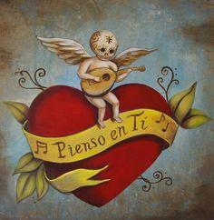 lovemexart: Art by Emily Costello (via neomexicanismos) Illustrations, Illustration Art, Lettrage Chicano, Chicano Tattoos, Tattoos Realistic, Street Art, Mexican Folk Art, Sacred Heart, Heart Art