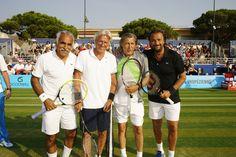 Le Classic Tennis Tour de Saint-Tropez avec (de gauche à droite) : Mansour Barahmi, finaliste de Roland Garros 1989 en double, Bjorn Borg 11 titres du Grand Chelem, n°1 mondial en 1977, Ilie Nastase Vainqueur à R. Garros et US Open, n°1 mondial en 1973 et Henri Leconte Vainqueur de La Coupe Davis en 1991, n°5 mondial en 1986.