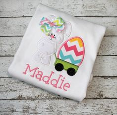 Easter Bunny with Wagon Easter Shirt Girl's by thesimplyadorable