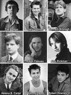 Young Tim Burton, Gary Oldman, Kenneth Branagh, Colin Firth,Ralph Fiennes, Alan Rickman, Helena Bonham Carter, Johnny Depp, Robert Downey Jr.  CAN I HAS THEM ALL
