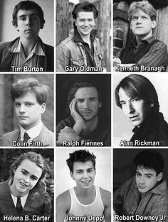 Young Tim Burton, Gary Oldman, Kenneth Branagh, Colin Firth,Ralph Fiennes, Alan Rickman, Helena Bonham Carter, Johnny Depp, Robert Downey Jr