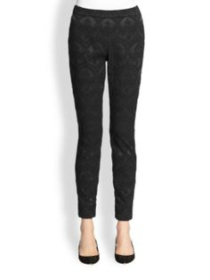 """Dolce & Gabbana - Jacquard Leggings . Richly fabricated jacquard rendered in a subtle, regal pattern, tailored for a slim, body-skimming fit. •Self waistband •Flat front •Ankle zippers •Concealed side zip •Inseam, about 28"""" •Acetate/polyester/nylon/spandex . black ."""