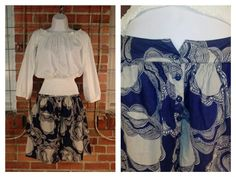 Urban Nomad white long sleeve top M $12; Tulle blue/grey pattern skirt L $11