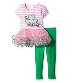 Patricks Day Ruffle Shirt Clover Petal Skirt Set Nb-8y Petitebella Lucky on St