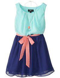 Dos tonos Sash vestido de la gasa Amy Byer Big Girls '